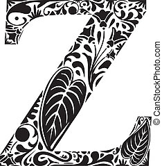 Floral Z - Floral initial capital letter Z