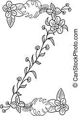 floral, z, ornamento, letra