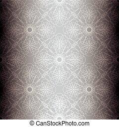 floral, zilver, achtergrond, spiraal