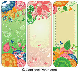 floral, zoet, banieren, bookmarks, of