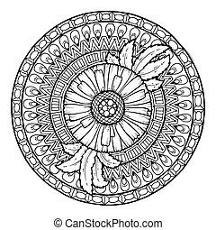 floral, zomer, cirkel, mandala., doodle