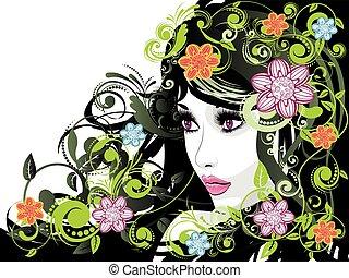 floral, zomer, meisje