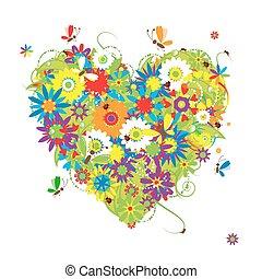 floral, zomer, ontwerp, jouw, hart