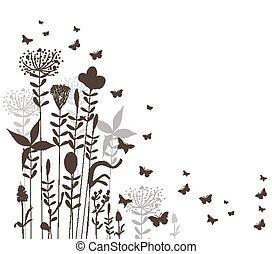 florals and butterflies vector