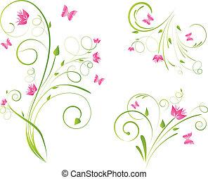 florals, diseños, y, mariposas