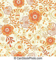 florals, doré, seamless, modèle fond