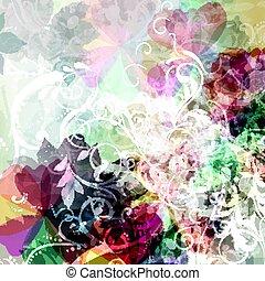 florals, fond, floral, résumé