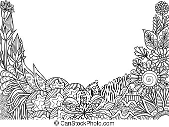 Florals - Hand drawn style floral with copy space for...