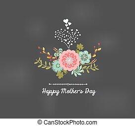 florals, matki, powitanie karta, dzień