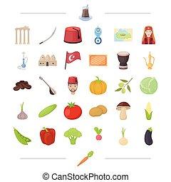 flore, autre, histoire, icône, dessin animé, légume, toile, tourisme, ensemble, collection., style., divertissement, icônes, récréation