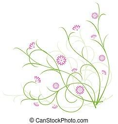 flore, illustration, vecteur, vert, fleurs, rouges