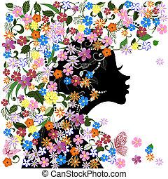 floreale, acconciatura, ragazza, e, farfalla