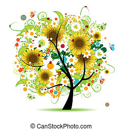 floreale, albero, bello