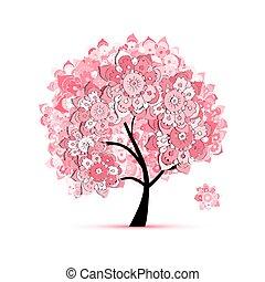 floreale, albero, disegno, tuo