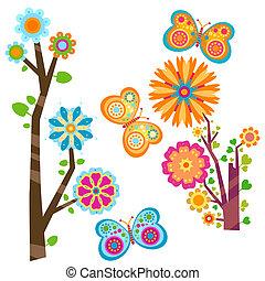 floreale, albero, e, farfalle