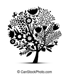 floreale, albero, schizzo, disegno, tuo