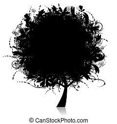 floreale, albero, silhouette, nero
