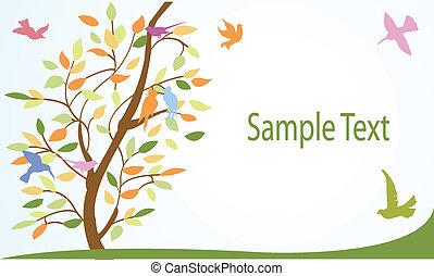 floreale, albero, uccelli