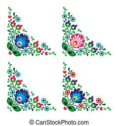floreale, angolo, bordo, popolo, polacco