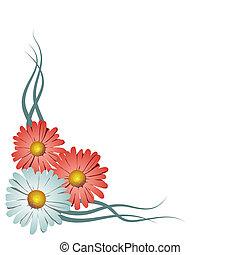 floreale, angolo, vettore, vignette., illustrazione
