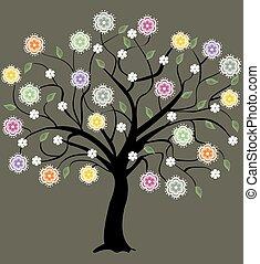 floreale, astratto, albero
