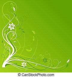 floreale, astratto, copia, fondo, spazio
