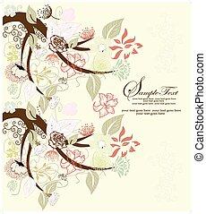 floreale, astratto, elementi, albero