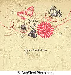 floreale, astratto, farfalle, fondo
