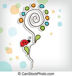 floreale, astratto, fiore, fondo