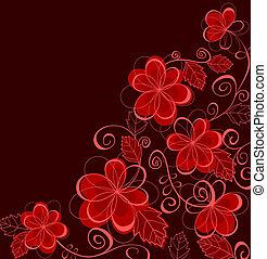 floreale, astratto, fiori, fondo