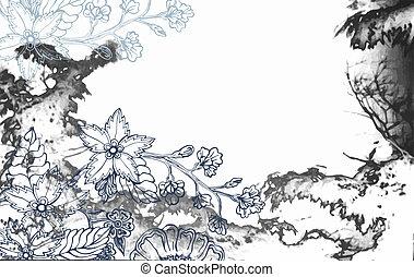 floreale, astratto, fondo, watercolour, struttura