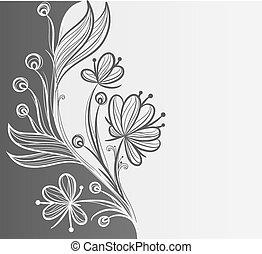 floreale, astratto, o, fondo, sagoma