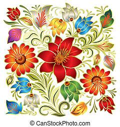 floreale, astratto, ornamento, bianco