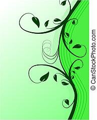 floreale, astratto, sfondo verde