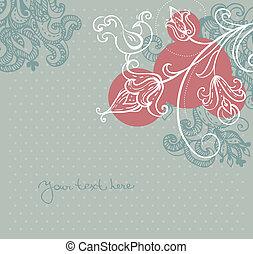 floreale, astratto, uccelli, fondo