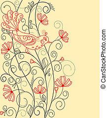 floreale, astratto, uccello, fondo