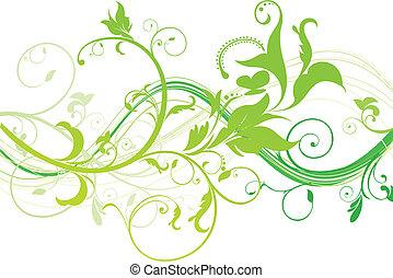 floreale, astratto, verde