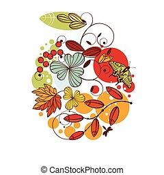 floreale, autunno, scheda