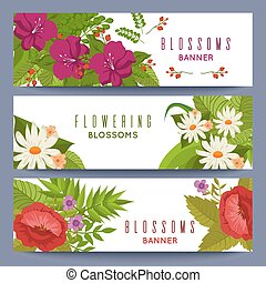 floreale, bandiere, fiori, sagoma, colorito
