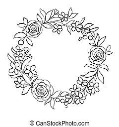 floreale, bianco, nero, cornice