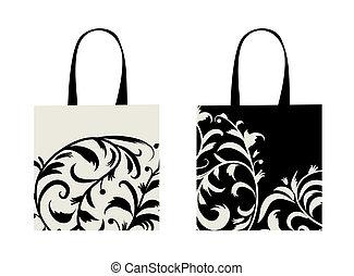 floreale, borsa, shopping, ornamento, disegno