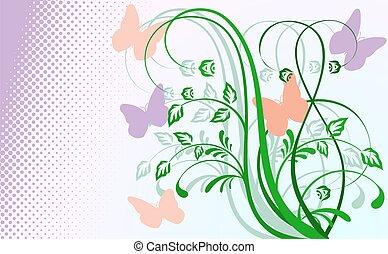 floreale, butterflies., astratto, fondo