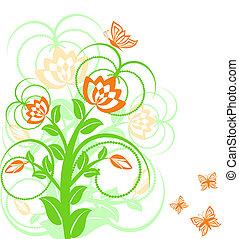 floreale, butterflies., vettore, fondo, illustrazione
