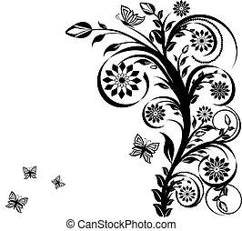 floreale, butterflies., vettore, ornamento, illustrazione