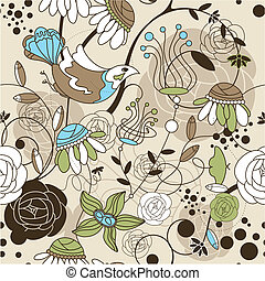 floreale, carino, seamless, fondo