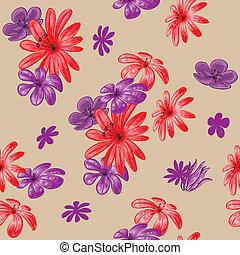 floreale, carino, seamless, modello