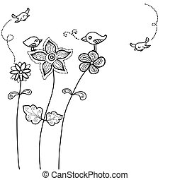 floreale, carino, uccello, fondo