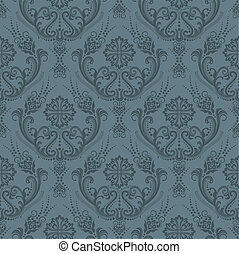 floreale, carta da parati, lusso, grigio