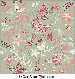 floreale, carta da parati, seamless, romantico