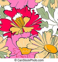 floreale, carta da parati, seamless
